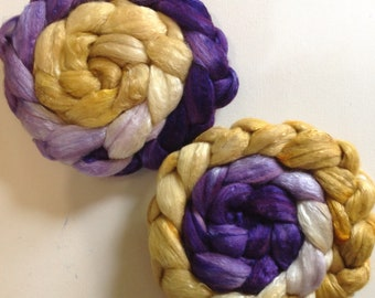 Hand Dyed roving 6ozspolwarth mulberry silk 70/30 Ready to ship