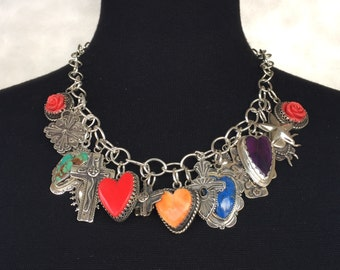 Elvira's Love and Faith Charm Necklace Southwestern Silver Jewelry Santa Fe Native Style Sterling Heart and Cross