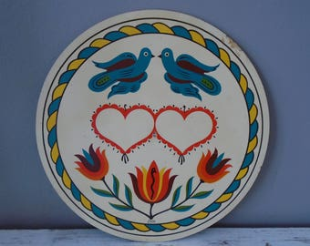 Fancy Pennsylvania Dutch marriage hex sign / circular wooden plaque with doves, tulips, hearts & snake / happiness, love hex sign / folk art