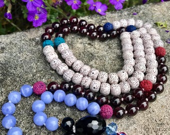 Lotus Seed Garnet Lava Blue Lace Agate Hand Knotted 8mm 108 Beads Aroma Japa Mala Tassel Necklace