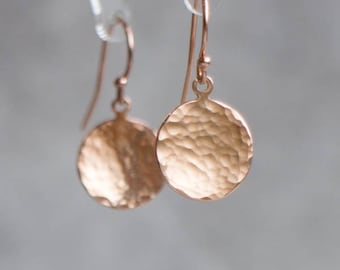 Hammered Gold Disc Earrings