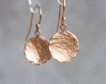 Rose Gold Earrings, Girlfriend Gift for Her, Hammered Disc Earrings, Drop Earrings, Dangle Earrings, Simple Earrings, Minimalist Jewelry