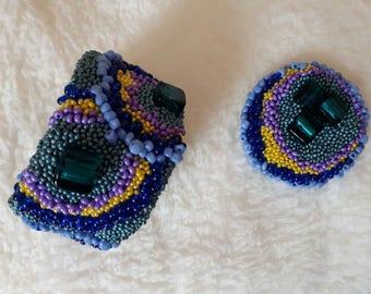 beaded bracelet and brooch, bracelet for women