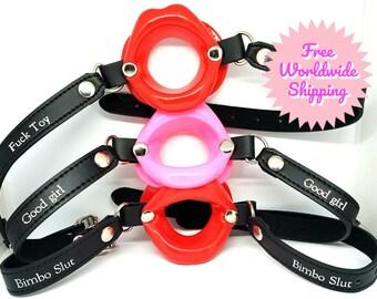 Adult/Mature BDSM Bondage Custom Personalised Bimbo Slut Lip Bit Gag Pink or Red Ball Gag Perfect for sissies bimbos or dollification