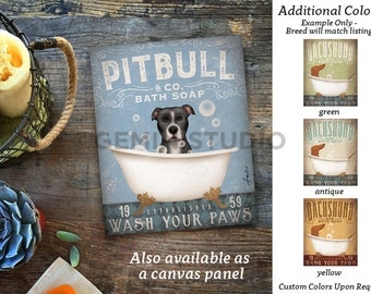 Pitbull Terrier pit bull dog bath soap Company artwork on gallery wrapped canvas by Stephen Fowler
