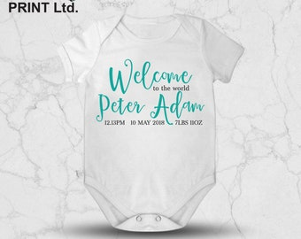 Personalised Baby Vest - New Baby - Welcome to the World