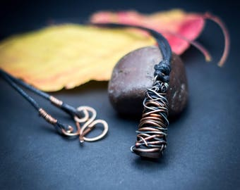 Raw copper pendant, boho wire wrapped pendant, woven wire pendant, oxidised copper and silver pendant, organic boho necklace, pagan necklace