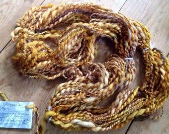Demetria - 3 ply handspun yarn - 2.8 oz  62 yards - handdyed hemp merino wool blend, cotton, silk slub