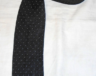 Spring Paris - silk TIE SILK man tie: black with white dots - vintage.