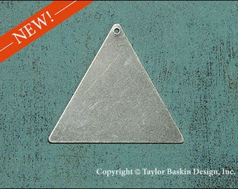 Antiqued Sterling Silver Plated Large Triangle Blank Finding (item 816 AS) - 6 Pieces