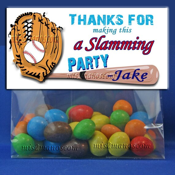 PRINTABLE CANDY BAGS Baseball Party Favors Treat Bag Topper