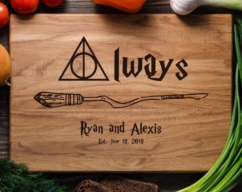 Harry Potter Personalized cutting board Custom cutting board engraved Wedding gift Bridal shower gift Deathly hallows Harry Potter Always
