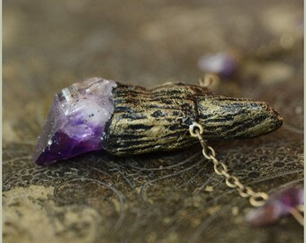 Amethyst wand necklace - faerie witch magic - Handmade jewelry sculpt