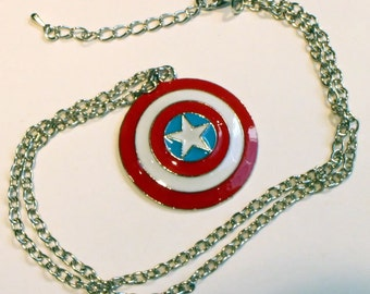Captain America Necklace or Keychain Steve Rogers Shield