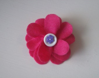 Hot pink flower hair alligator clip with layered buttons