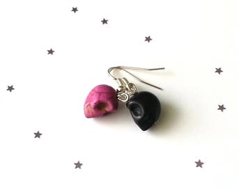 Pink & black skull earrings -howlite earrings - sterling silver earrings - 5 earring options available - gothic earrings