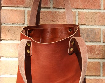 Small Tote, Tote Bag, Petite Tote, Cognac Latigo Leather, Leather bag, unlined leather
