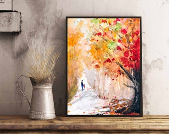 Autumn Scene Painting , Fall Colors art print, Watercolor fall colors, Watercolor autumn scene art print, Fall Leaves, Thanksgiving