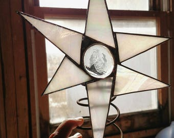White, Iridescent Stained Glass Christmas Tree Topper- Stained Glass Star- Christmas Star-  Celestial Decor- Whimsical Tree Topper