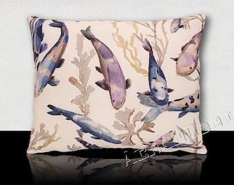 Design pillow beautiful peaceful and colorful aquatic world. CARP KOÏ blue indigo/purple/white