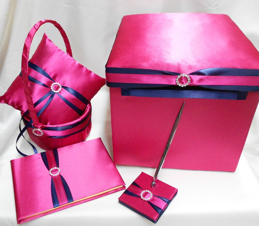 Fuchsia hot pink navy blue flower girl basket ring pillow zoom mightylinksfo Images