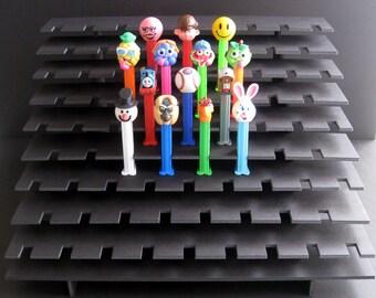 77 PEZ Display Shelf Stadium Style - Holds 77 Dispensers - Black or White