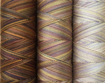 Hand Dyed Cotton Machine Threads, Set of 3,150m (162yds) each, 3 Gradient shades of No.01 Chocolate