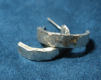 """Hammered """"Half-Round"""" Sterling Silver Post Earrings"""