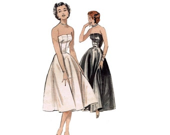 1950s Strapless Evening Gown Butterick 6752  Boned Fitted Bodice Cocktail Dress Floor Length Full Skirt Slip Bust 32 Vintage Sewing Pattern