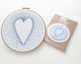 Blue Heart Embroidery Pattern, Beginners Hand Embroidery Kit, Needlecraft Printed Fabric, DIY Valentines Gift, Anniversary Hoop Art, Nursery