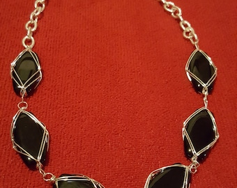 Chunky Blackstone & Silver Necklace