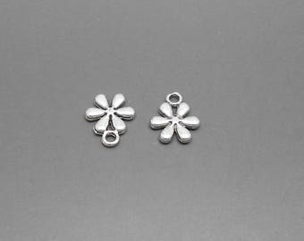 2 sided dimensions 13 x 11 mm antiqued silver flowers charms
