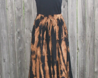 Long Rayon Skirt Tie-dyed in Burnout Black and Tan