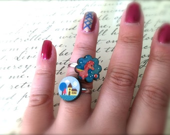 Little House or Pink Pony Wood Adjustable Ring. Round. Laser Cut Wood. Under 10. Lightweight. Cute. Gold. Whimsical. Home. Yellow. Pink.