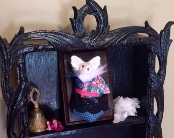 Baby Bat Doll taxidermy hanging / Albino, faux taxidermy, goth, vampire bat