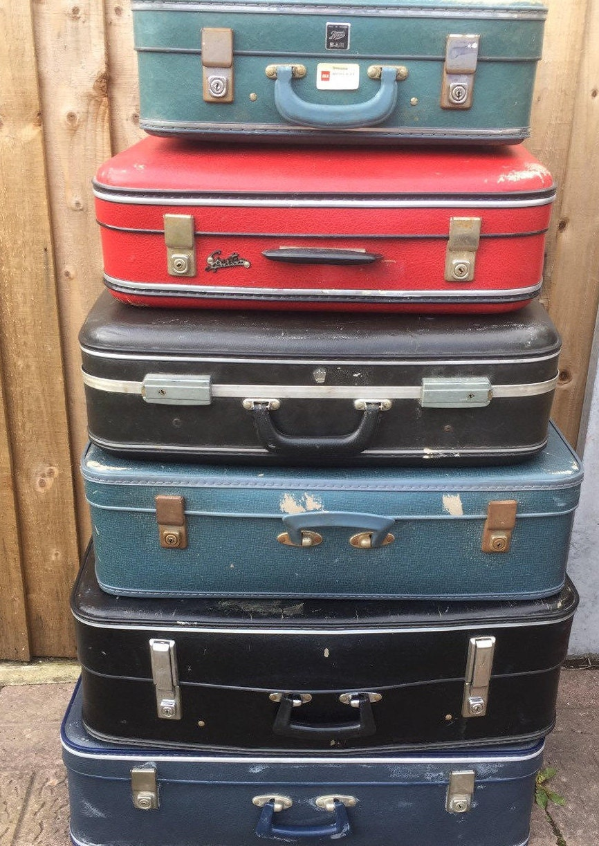 1960s   1970s Vintage Retro Suitcases // Vintage Luggage // Vintage Home  Decor // Vintage Storage Solution // Retro Cases // Photo Props
