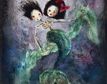 Skeletal Mermaid Twins (print of my original painting)