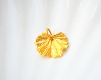 Gold Vermeil Geranium Leaf Charm - Gold over Sterling Silver - Add On - Nature