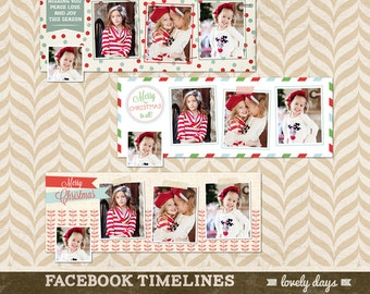 Christmas Facebook Timeline Cover Holiday for Photographers Set of 3 INSTANT DOWNLOAD