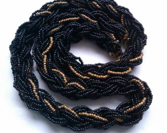 plaid black and gold micro bead necklace