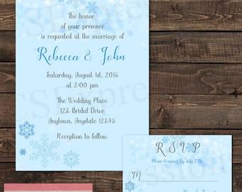 Blue Snowflake Winter Wonderland Wedding Invitation and RSVP Card