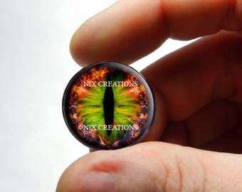 Glass Eyes - Swamp Fire Dragon Taxidermy Doll Eyes Cabochons - Pair or Single - You Choose Size