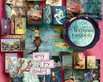 Junk Journal Kit  Mermaid Journal  Printable Journal Pages  Digital Journal Kit  Mini Album  ephemera pack  vintage journal  mermaid