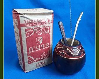 "Red ""Guarda Pampa"" Mate Gourd, 1.10lbs Organic Yerba Mate Bag, Bombilla, Spoon + Cleaner"