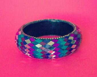 Vintage Wooden Mirrored Jewel Bracelet Cuff
