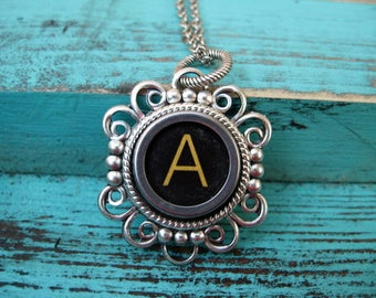 Antique Typewriter Key Necklace Initial A