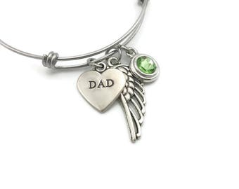 Memorial Jewelry, Loss of Dad, Memorial Gift, Sympathy Gift, Angel Wing Jewelry, Loss of Father, Memorial Bangle Bracelet, Personalized