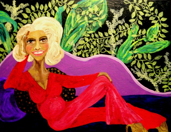 """Acrylic Painting, """"ROSE"""", by Hoosier Folk Artist Stacey Torres mature woman lounging on purple chaise lounge w/a botanical background"""