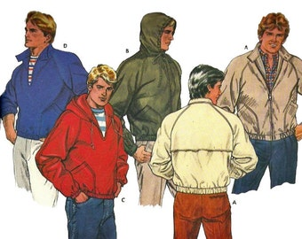 Butterick 6209 1980s Fast and Easy Mens Jacket  Pattern Pullover Zip Front Hoodie Adult Vintage Sewing Pattern Chest 40 42 44 Uncut