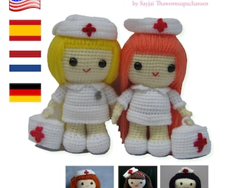 English, Spanish, Dutch and German Instructions - Instant Download PDF Crochet Pattern Nurse Jazzy